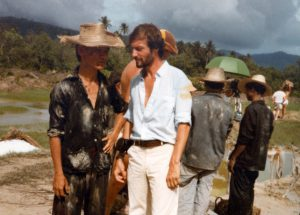 Director Roland Joffe and Dr. Ngor on the set of The Killing Fields. Courtesy the Dr. Haing S. Ngor Archive.