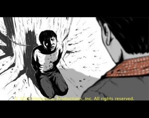 Storyboard detail from The Killing Fields of Dr. Haing S. Ngor. . © 2013 DeepFocus Productions, Inc., illustration by Yori Mochizuki