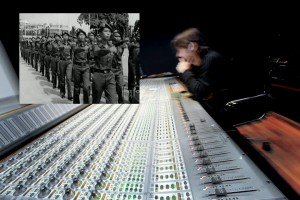 Working from Spain, foley mixer Diego Suárez Staub creates the sound of Lon Nol troops marching en masse.