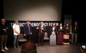 Post-screening Q & A (l-r): Wilson Wu, Grant Nellessen, Mark Adler, Arthur Dong, Asiroh Cham, Vanara Taing, Bochan, Yori Mochizuki