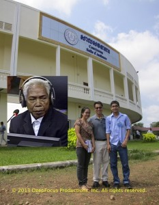 Dr. Haing S. Ngor's grandniece and grandnephew, Sokal and Oudom Bunna, join filmmaker Arthur Dong (center) at the Khmer Rouge Tribunal. © 2013 DeepFocus Productions, Inc.