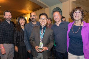 Funder Cal Humanities' staff and board at the world premiere reception, l-r: Program Officer John Lightfoot, Development Officer Ann Yoshinaga, and Board Members Santhosh Daniel, Jeff Adachi, and Margaret Shellada, pictured with film Director Arthur Dong (front center). Photo by Bob Hsiang Photography, ©2015.