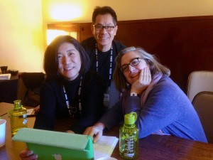Director Arthur Dong consults with Sundance editorial advisors Jean Tsien, left, and Carol Dysinger on The Killing Fields of Dr. Haing S. Ngor.