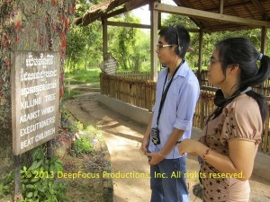 Haing Ngor's grandniece and grandnephew, Sokal and Oudom Bunna. At Choeung Ek Genocidal Museum, Phnom Penh. © 2013 DeepFocus Productions, Inc.