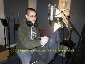 Wayne Ngor records voice-overs for The Killing Fields of Dr. Haing S. Ngor.. © 2013 DeepFocus Productions, Inc., photo by Arthur Dong.