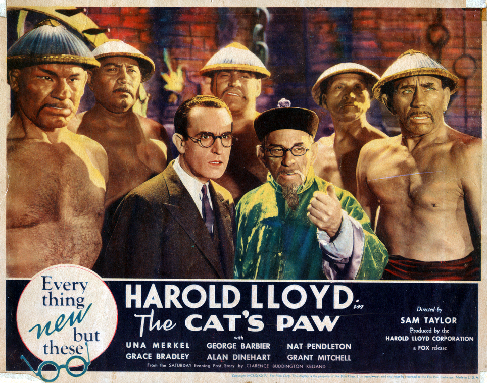 """The Cat's Paw"" lobby card, front (l-r):Harold Lloyd and Alyn Warren (1934)."